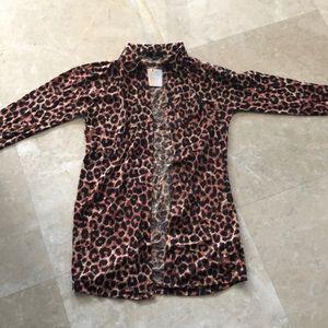 Tops - Missguided cheetah print button down